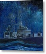Uss Truxtun Dlgn-35 A Nuclear-powered Cruiser At Sea At Night Under The Milky Way Metal Print