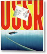 Ussr Vintage Cruise Travel Poster Restored Metal Print