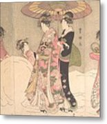 Utagawa Toyokuni I    Courtesans And Attendants Playing In The Snow Metal Print