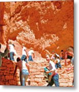 Utah Seventh Graders Climb Up Switchbacks On Wall Street On Navajo Trail In Bryce Canyon National Pa Metal Print