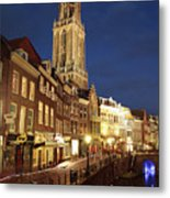 Utrecht Cathedral At Night Metal Print