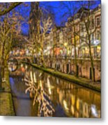 Utrecht Old Canal By Night Metal Print