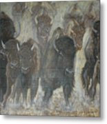Uttc Buffalo Mural Center Panel Metal Print