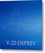 V-22 Osprey Blueprint Metal Print