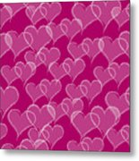 Valentine Hearts Pattern Metal Print