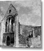 Valle Crucis Abbey Monochrome Metal Print