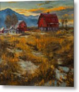 Valley Farm Sunset Metal Print