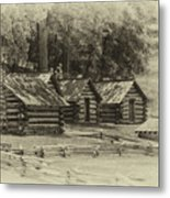Valley Forge Barracks In Sepia Metal Print