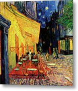 Van Gogh Cafe Terrace Place Du Forum At Night Metal Print