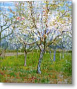 Van Gogh The Pink Orchard Metal Print by Vincent Van Gogh