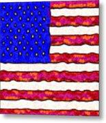 Van Gogh.s Starry American Flag . Square Metal Print