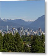 Vancouver Bc City Skyline And Mountains View Metal Print