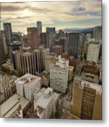 Vancouver Bc Cityscape Aerial View Metal Print