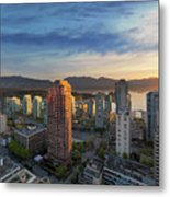 Vancouver Bc Cityscape At Sunset Metal Print