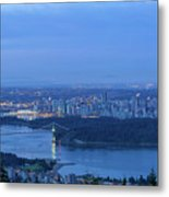 Vancouver Bc Cityscape During Blue Hour Dawn Metal Print
