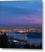 Vancouver Bc Cityscape Lions Gate Bridge Sunset Metal Print