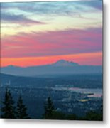 Vancouver Bc Cityscape With Cascade Range Morning View Metal Print