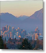 Vancouver Bc Downtown Cityscape At Sunset Panorama Metal Print