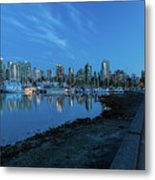 Vancouver Bc Skyline Along Stanley Park Seawall Metal Print