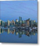 Vancouver Bc Skyline During Blue Hour Panorama Metal Print