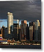 Vancouver City Sunset Panorama From Stanley Park Metal Print