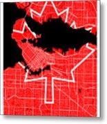 Vancouver Street Map - Vancouver Canada Road Map Art On Canada Flag Symbols Metal Print