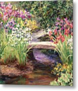 Vandusen Garden Iris Bridge Metal Print