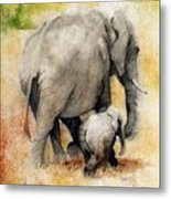 Vanishing Thunder Series - Mama And Baby Elephant Metal Print