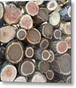 Various Firewood In The Round Metal Print