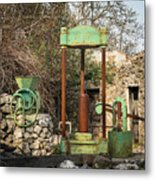 Various Old Rusty Vintage Agricultural Devices In Croatia Metal Print