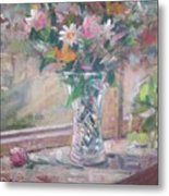 Vase And Flowers In Window Sill. Metal Print