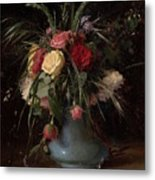 Vase Of Flowers And A Visiting Card Metal Print