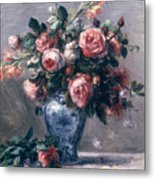 Vase Of Roses Metal Print by Pierre Auguste Renoir