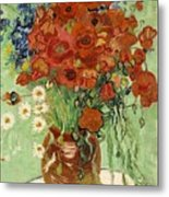 Vase With Daisies And Poppies Metal Print