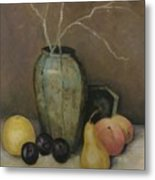 Vase With Fruit Metal Print