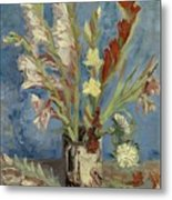 Vase With Gladioli And Chinese Asters Metal Print