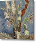 Vase With Gladioli And Chinese Asters Paris, August - September 1886 Vincent Van Gogh 1853  1890 Metal Print