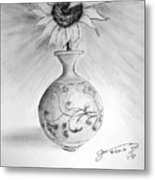 Vase With One Sunflower Metal Print