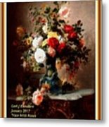 Vase With Roses And Other Flowers L A With Decorative Ornate Printed Frame. Metal Print