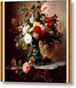 Vase With Roses And Other Flowers L B With Decorative Ornate Printed Frame. Metal Print