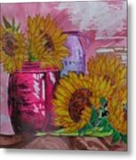 Vases With Flowers Metal Print