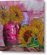 Vases With Flowers Metal Print