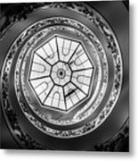 Vatican Staircase Looking Up Black And White Metal Print
