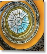 Vatican Staircase Looking Up Metal Print