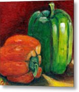 Vegetable Still Life Green And Orange Pepper Grace Venditti Montreal Art Metal Print