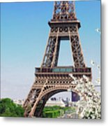 Eiffel Tower And Spring Metal Print