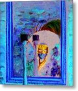 Venetian Girl Looking In Mirror Metal Print