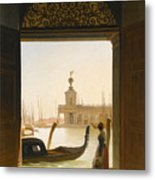 Venice A View Of The Dogana Seen Through A Large Doorway Metal Print