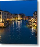 Venice And The Grand Canal In The Evening Metal Print