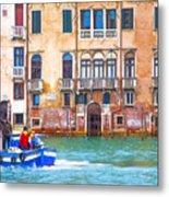 Venice Boat Under The Rain Metal Print